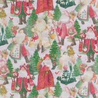 Caspari Caspari Wrapping Paper 8ft Roll- Santas Silver Foil