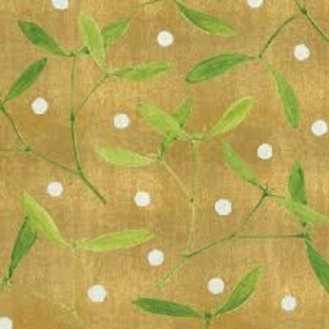 Caspari Caspari Wrapping Paper 8ft Roll- Mistletoe Gold