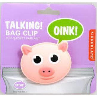 Kikkerland Kikkerland Talking Bag Clip- Pig