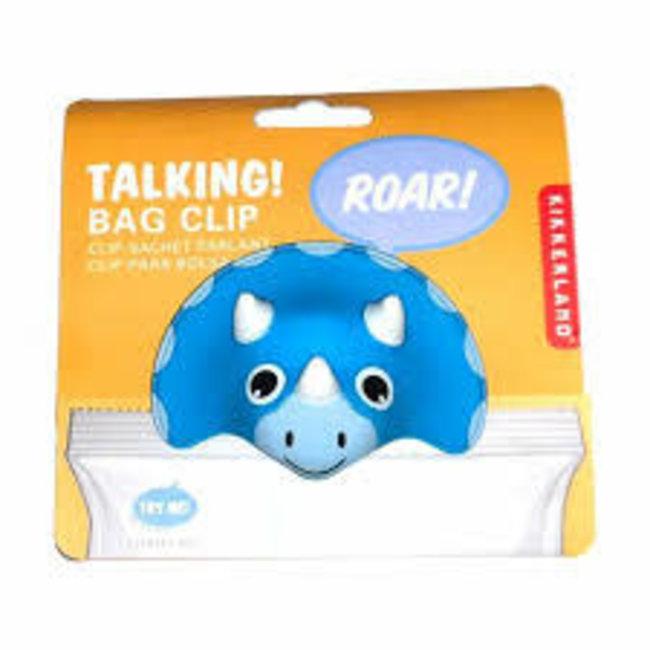 Kikkerland Kikkerland Talking Bag Clip- Triceratops