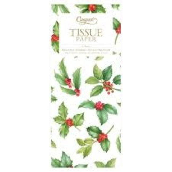 Caspari Caspari Tissue Paper - Holly Toss White