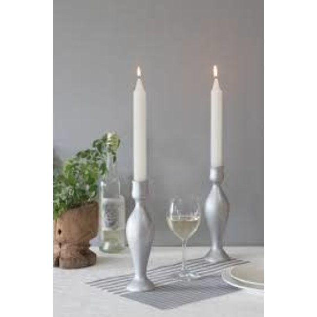 Vance Kitira Solid Wood Candle Stick-  Silver