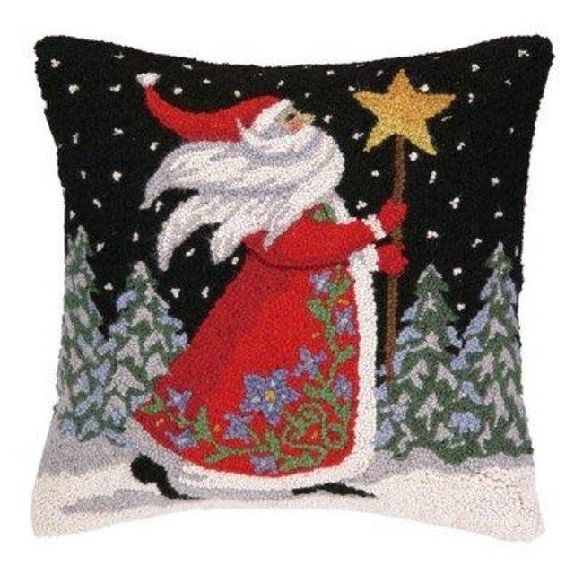 Peking Handicraft Peking Handicraft Pillow - Santa with Star Staff 18x18