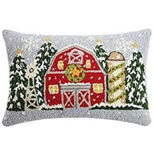 Peking Handicraft Peking Handicraft Pillow - Christmas Farm House 14x22