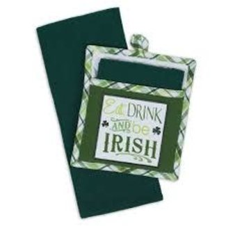 DII Drink and Be Irish Gift Set Dish Towel and Pot Holder