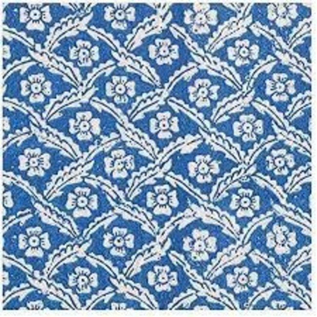 Caspari Caspari Luncheon Napkins - Domino Papers Floral Cross- Brace Blue
