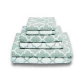 Irongate Jacquard Hand Towel - Spa Blue/White