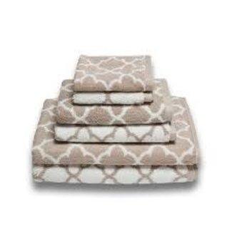 Irongate Jacquard Wash Cloth - White/Sand