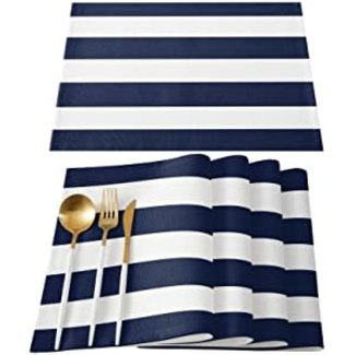 Harman Harman Placemat Cabana Stripped - Blue and White
