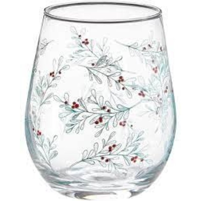 Tag Sprig Stemless Wine Glass- Green Multi