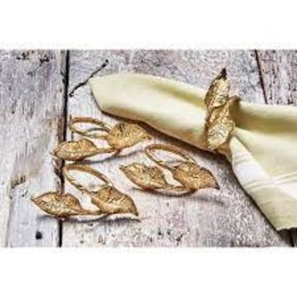 Tag Napkin Ring Set of 4 - Gold Leaves