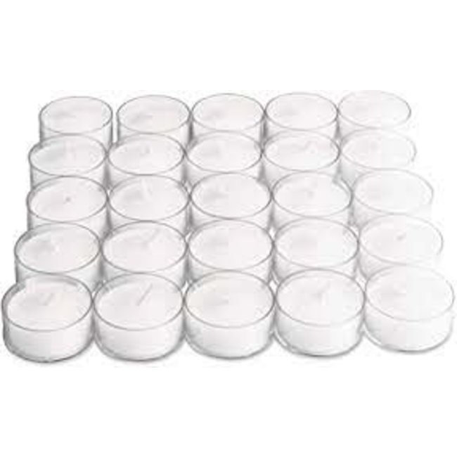 Tag Candles Clear Cup Tealights (Set of 25) - White