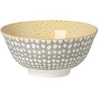Now Designs Now Designs Bowl Stamped 6inch- Gray Dots/Yellow
