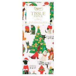 Caspari Caroling Pets Tissue Paper- 4 Sheets