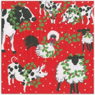 Caspari Christmas on the Farm 3- Ply Paper Luncheon Napkin