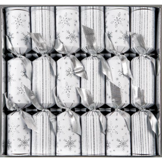 Walpert Walpert Christmas white snowflakes & Stripes Crackers