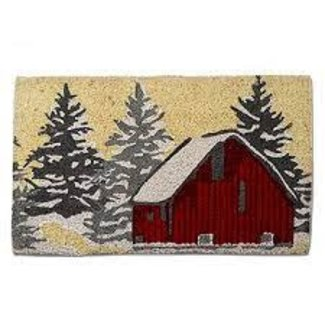 Tag Christmas Snowy Red Barn Coir Mat