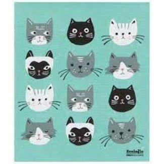 Now Designs Now Design Sponge Towel Swedish- Green Cats Meow