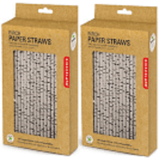 Kikkerland PAPER STRAWS BIRCH BOX OF 144