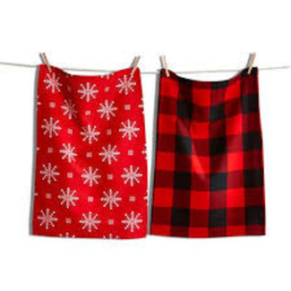TAG Dish Towel Set/2- Lodge Snowflake Red check