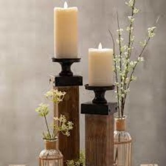 """Sullivans 3""""x7"""" LED Frosted Wax Candle Pillar- Tan"""