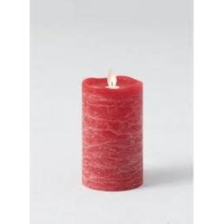 """Sullivan 3""""x5"""" LED Frosted Wax Candle Pillar- Red"""
