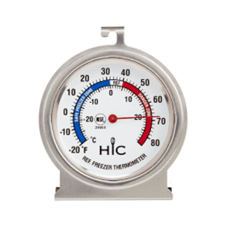 HIC Refrigerator/Freezer Thermometer - Stainless Steel