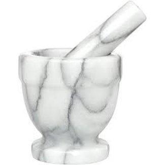 """HIC HIC Carrara Marble 4"""" Mortar & Pestle"""
