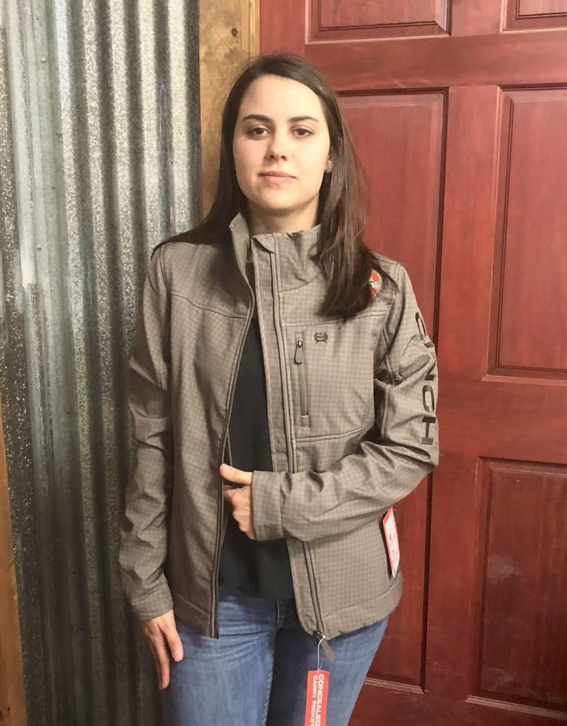 CINCH CINCH WNS CC BONDED JACKET BROWN TAN HOUNDSTOOTH CONCEALED CARRY POCKET BOTH SIDES