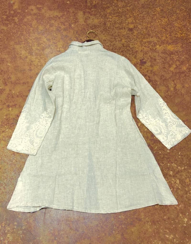 PAPER LACE PAPERLACE WNS SHIRT / JACKET WITH EMBROIDERY BEIGE LACE LINEN