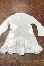 PAPER LACE PAPER LACE WNS VINTAGE JACKET WITH PATCHES LACE LINEN