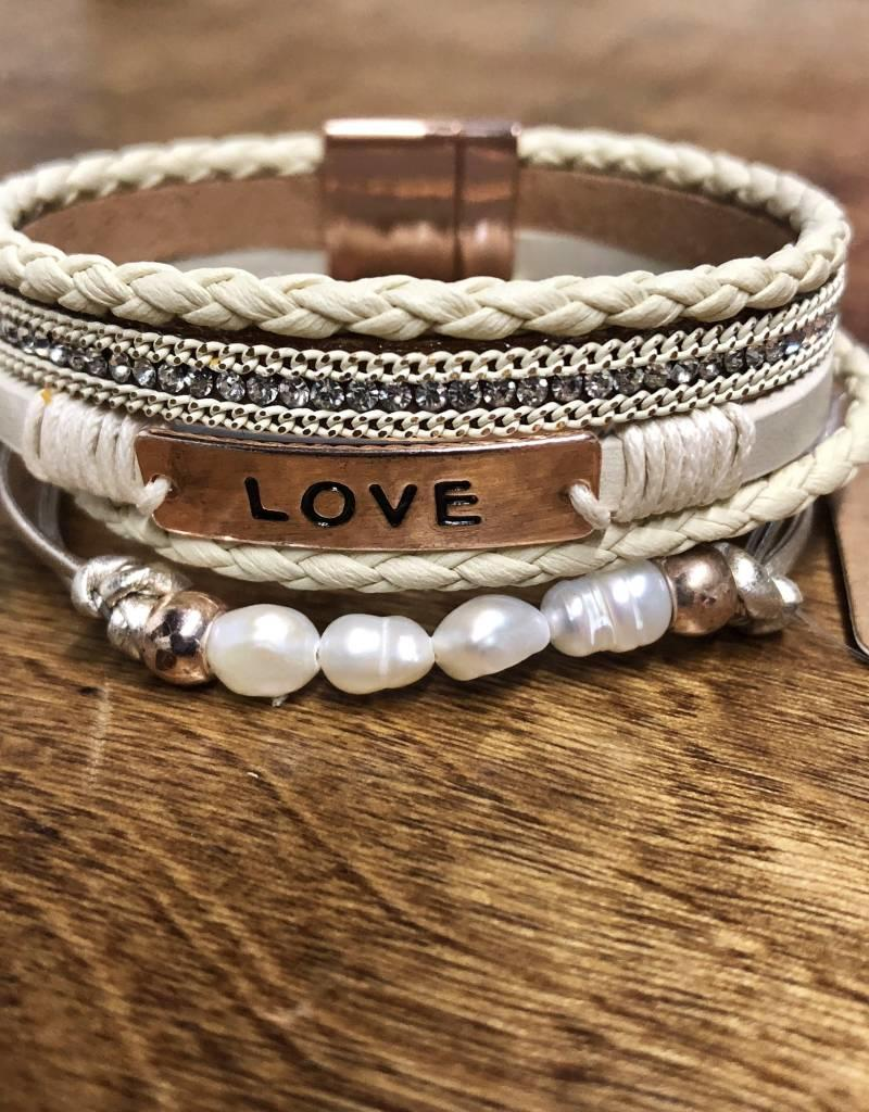 BRACELET LOVE MULTI STRAND CREAM MAGNET CLOSURE