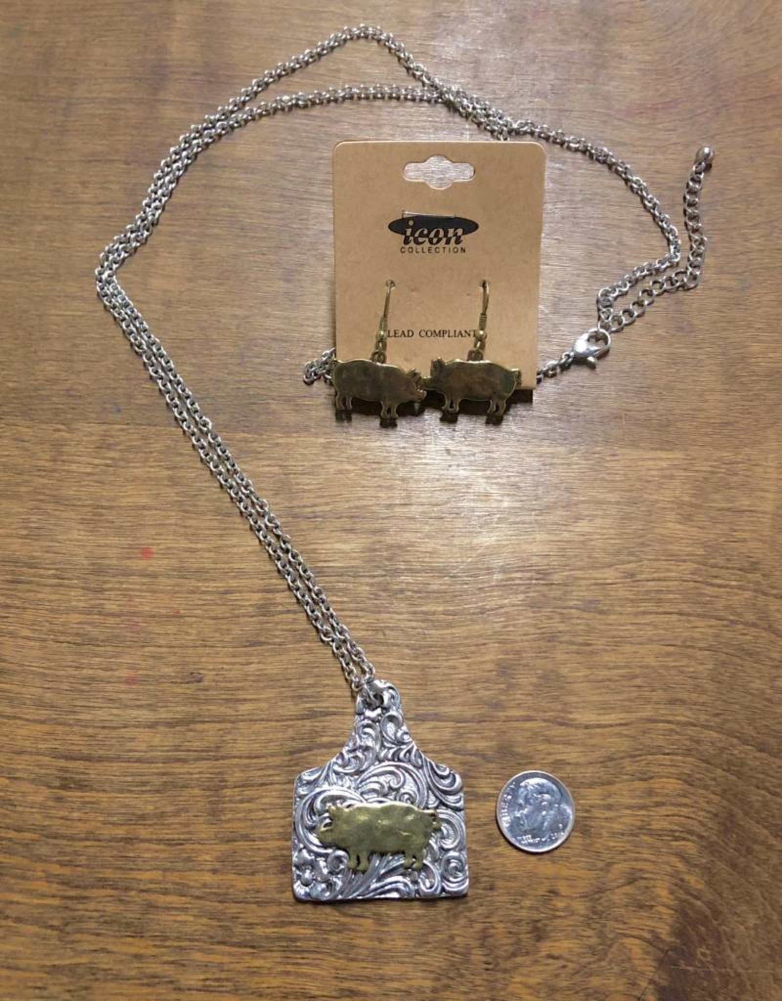 NECKLACE PIG TAG SET GOLD W SILVER FILIGREE
