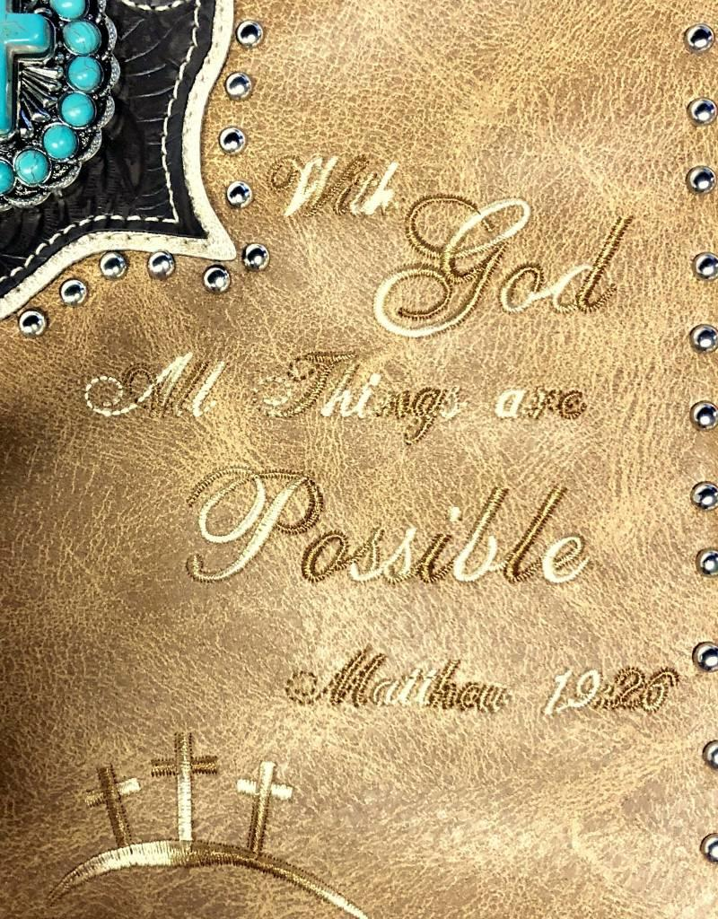 BIBLE COVER WESTERN EMBROIDERED WITH HANDLE AND STRAP VEGAN LEATHER