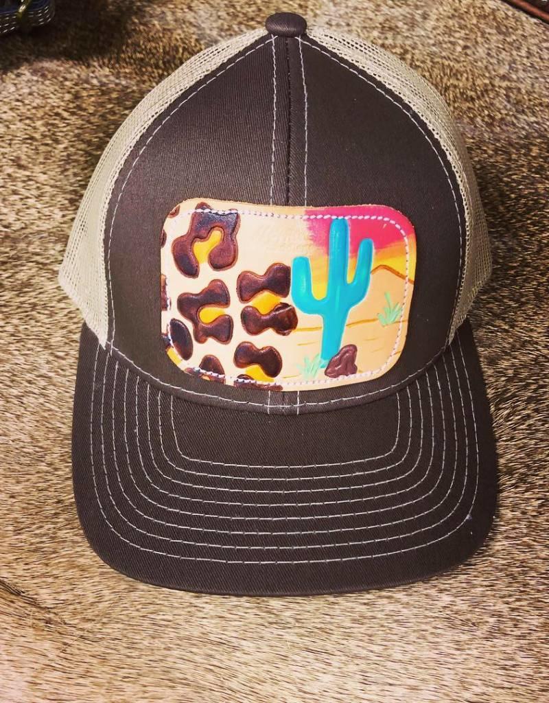 HAT BROWN/TAN WITH LEOPARD SAGUARO