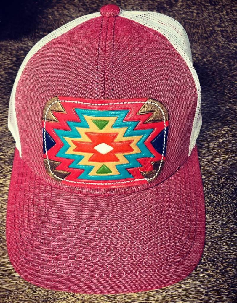 HAT HEATHER RED/WHT W/ DARK FALL AZTEC CAP-11