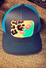 HAT CHARCOAL/TEAL W/ LEOPARD/ PINK CACTUS