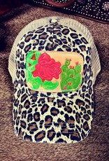 HAT LEOPARD LOW CROWN W/ ROSE/CACTUS