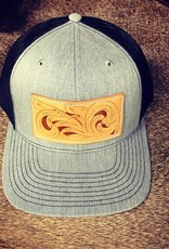 HAT HEATHER GREY/BLACK W/ HAND TOOLED