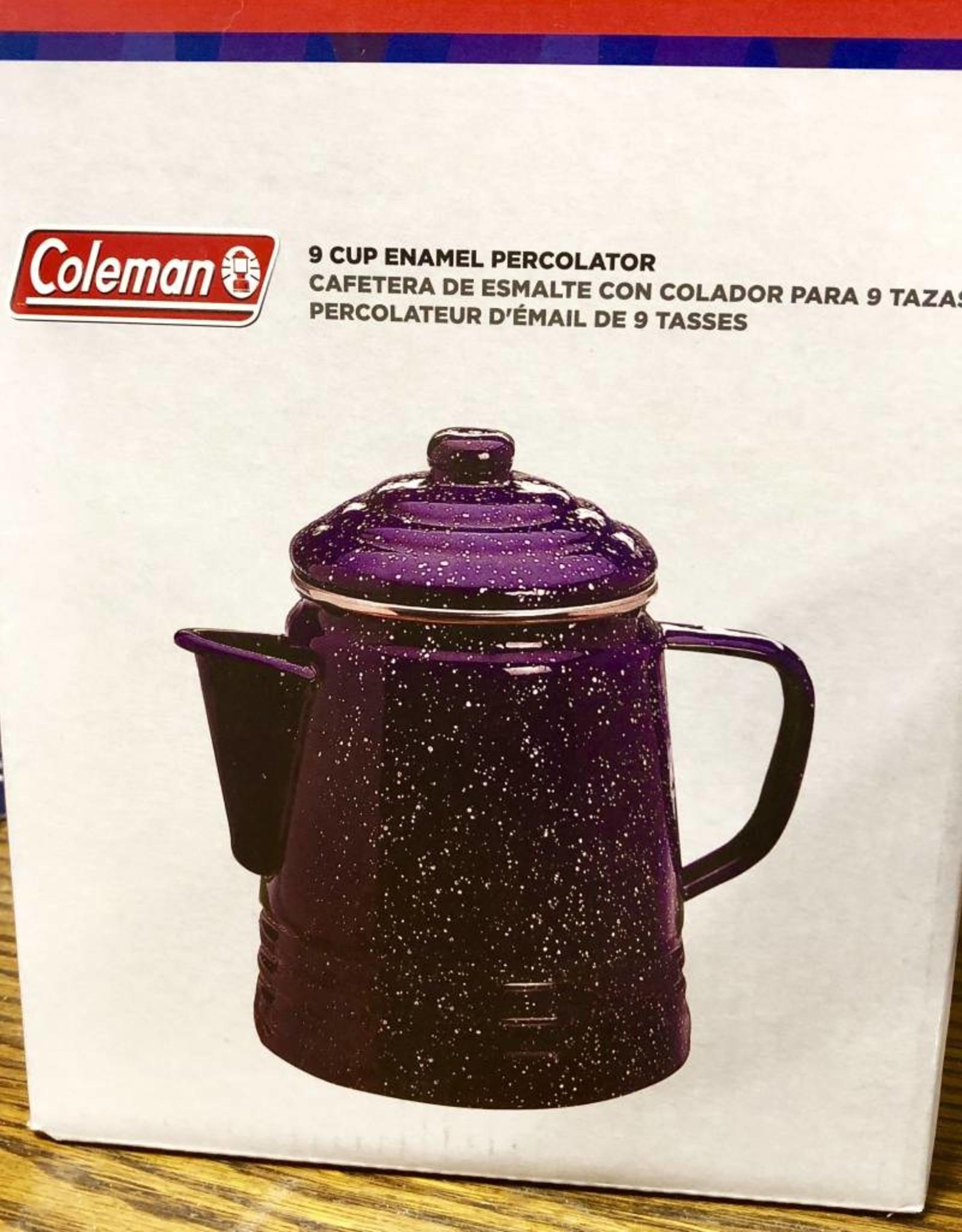 PERCOLATOR COFFEE POT ENAMEL CAMP COLEMAN 9 CUP