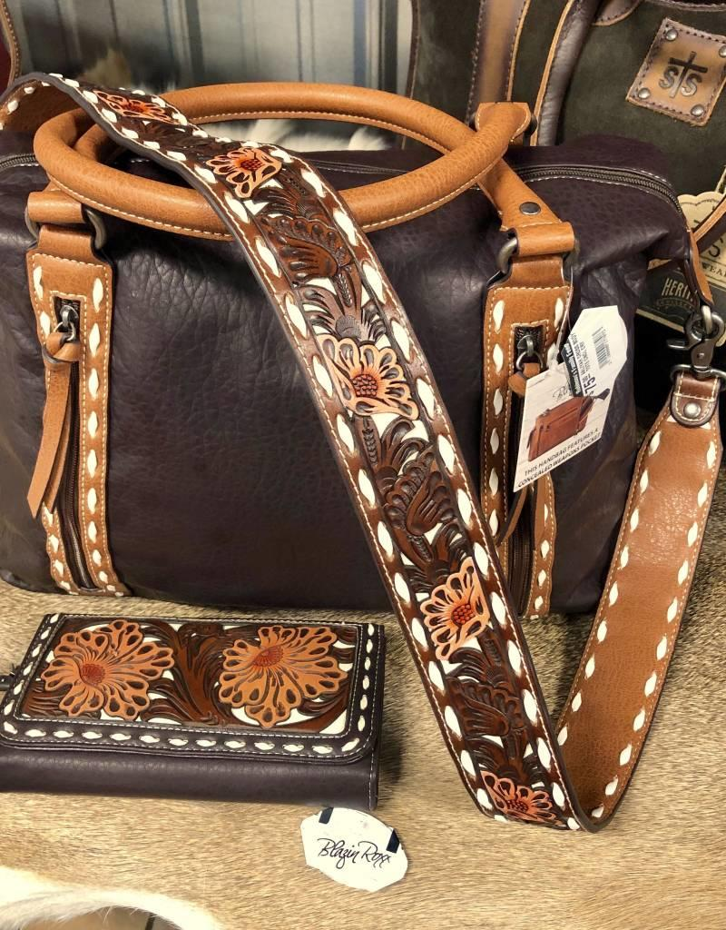 BLAZIN ROXX PURSE AALIYAH CROSS BODY TOTE  CC CONCEALED CARRY TOOLED BUCK STITCH BELT