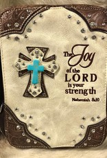 "BIBLE COVER TURQ CROSS BRN/CRM ""THE JOY OF THE LORD.."" TOOLED CRYSTAL STUD"