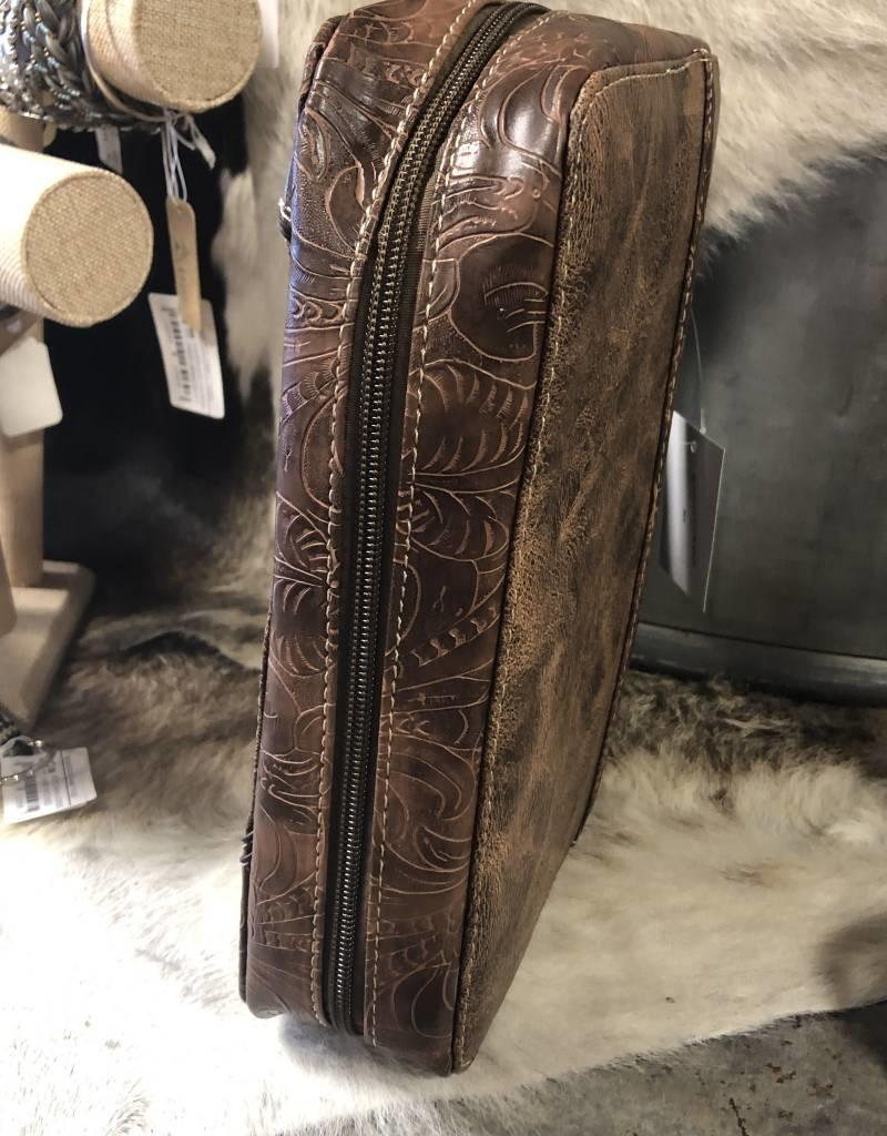 """BIBLE COVER TURQ CROSS BRN """"BE STRONG AND COURAGEOUS.."""" CRYSTAL TOOLED W HANDLE AND DETACHABLE STRAP"""