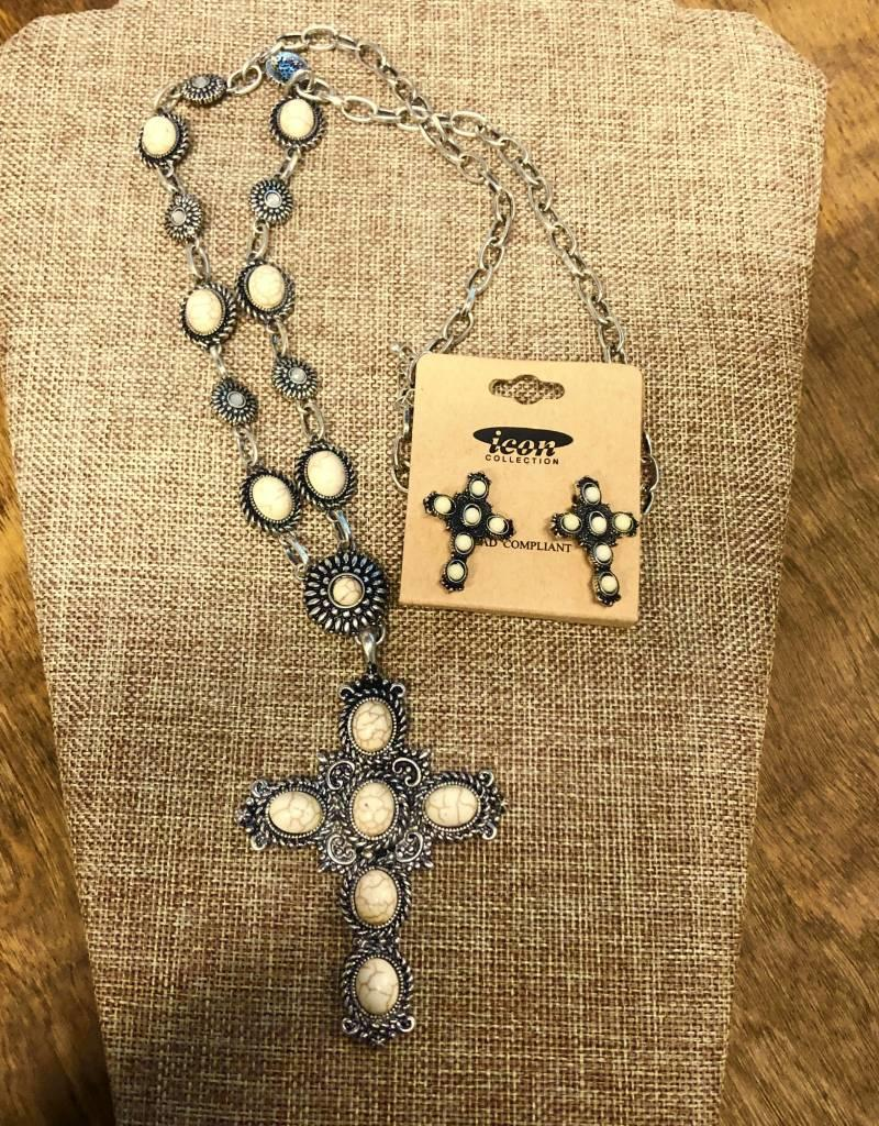 NECKLACE SET CROSS NATURAL STONE CREAM