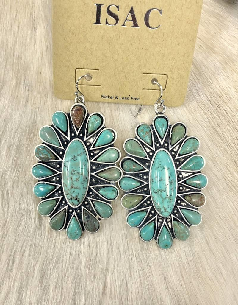 """EARRING NAT STONE TURQ OVAL FLORAL 3"""""""