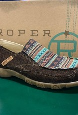 ROPER WMS DRIVING MOC SLIP ON BROWN CANVAS W/ STRIPES 09-021-1786-2199
