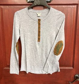 ARIAT WMS MILL HENLEY TEE HEATHER GREY GRAY SUEDE CLOTH PATCH CACTUS