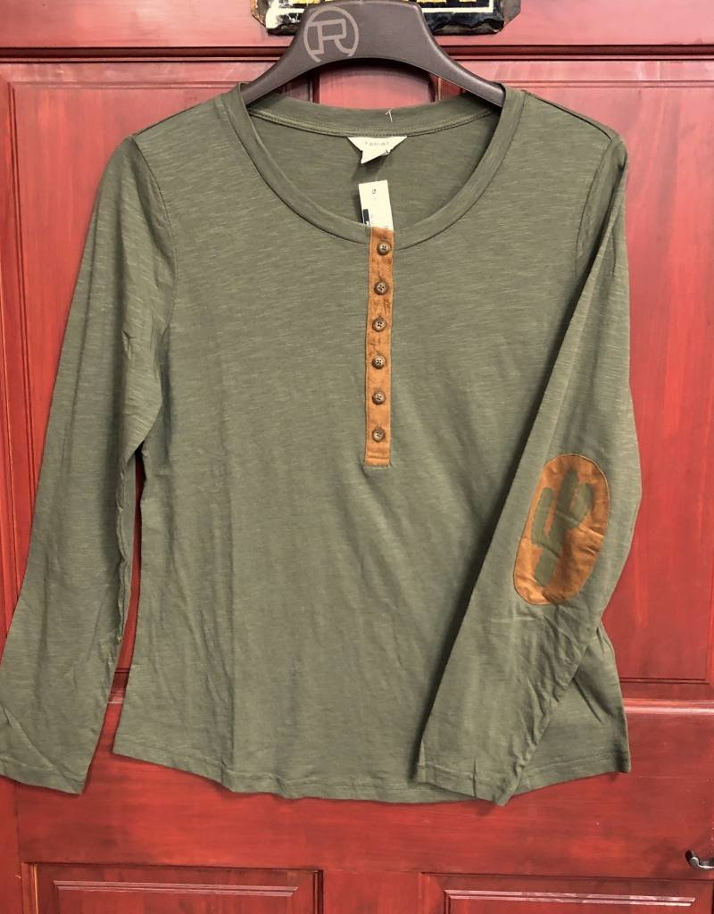 ARIAT WMS MILL HENLEY TEE BURNT OLIVE SUEDE CLOTH PATCH CACTUS