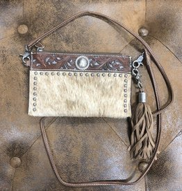 PURSE LYNLEE CROSS BODY BAG HAIR ON SILVER METALLIC INLAY BELT BAG