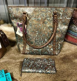 PURSE BROWN TQ METALLIC EMBOSSED TOTE CONCEALED CARRY